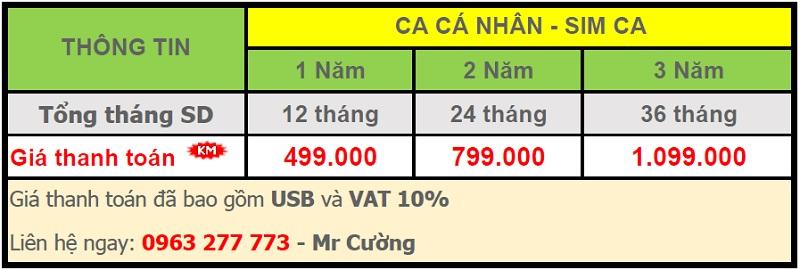 3. 1. bảng giá chữ ký số - Viettel Phú Nhuận Cá nhân - Sim CA