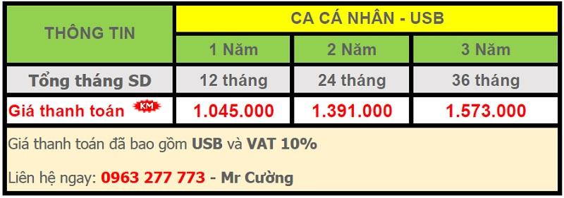 4. 1. bảng giá chữ ký số - Viettel Phú Nhuận CA Cá nhân - USB