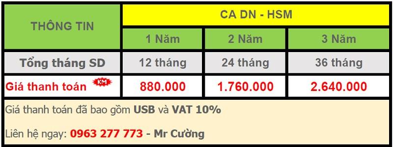 6. 1. bảng giá chữ ký số - Viettel Phú Nhuận CA DN - HSM