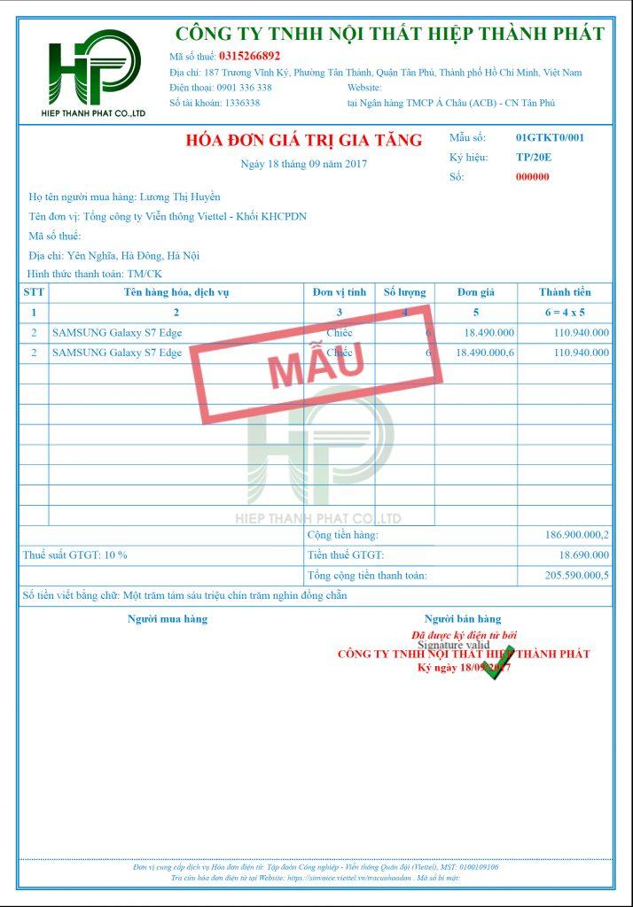 Mẫu hóa đơn Sinvoice Viettel - Phú Nhuận
